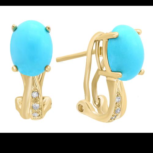 Closeup photo of 14k Yellow Gold Diamond & Turquoise Earrings
