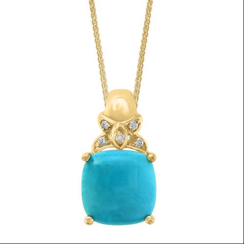 14k Turquoise & Diamond Pendant
