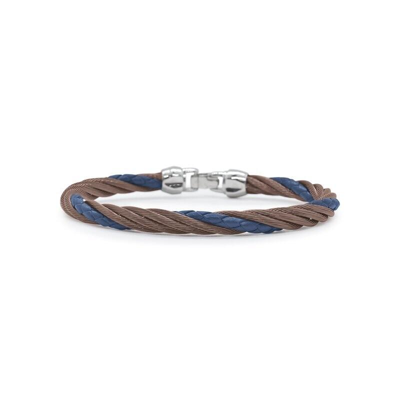 Blue Leather Modern Twist Bracelet