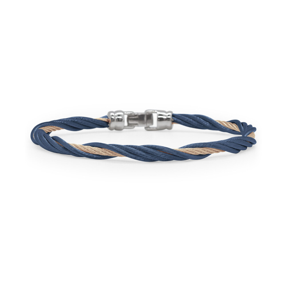 Blueberry & Carnation Cable Modern Twist Bracelet