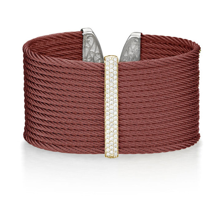 Burgundy Cable Large Monochrome Cuff with 18kt Yellow Gold & Diamonds
