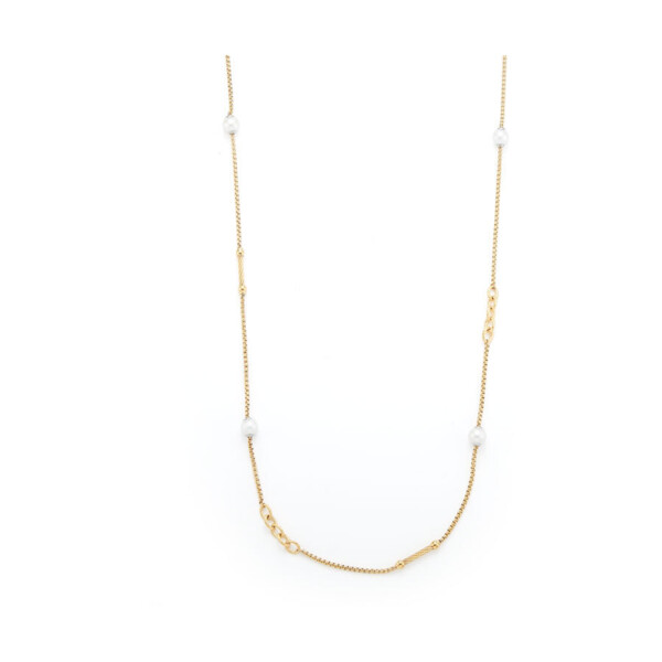 Closeup photo of Chain Reaction Yellow Cable Necklace with Pearls