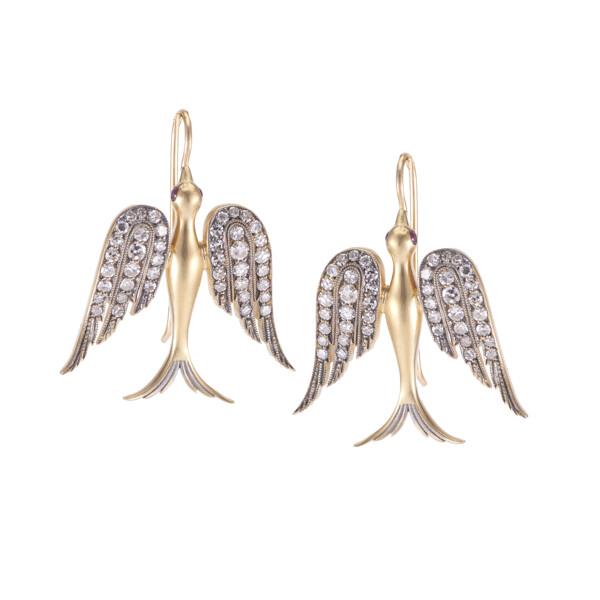 Closeup photo of Large Swallow Earrings