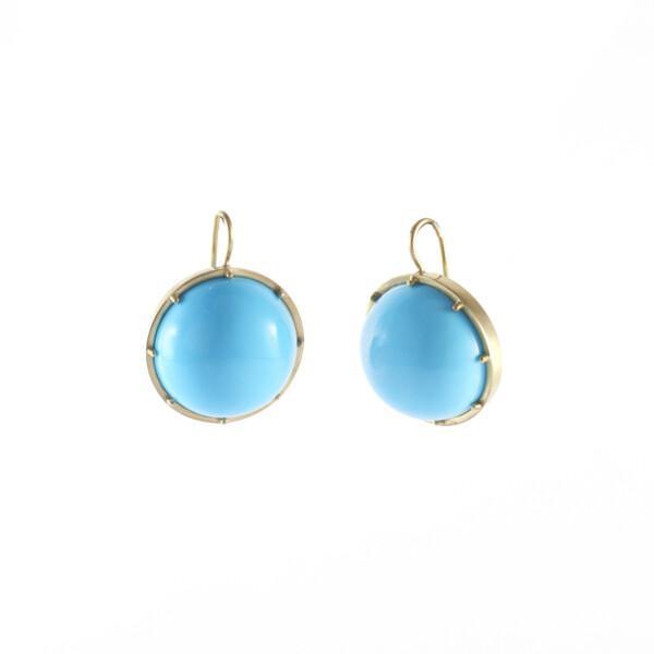 Closeup photo of Sleeping Beauty Turquoise Drop Earrings