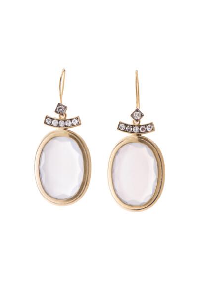 Closeup photo of White Moonstone Pagoda Earrings