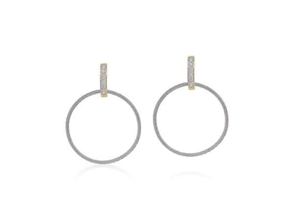 Closeup photo of Grey Cable Petite Drop Circle Earrings – ALOR