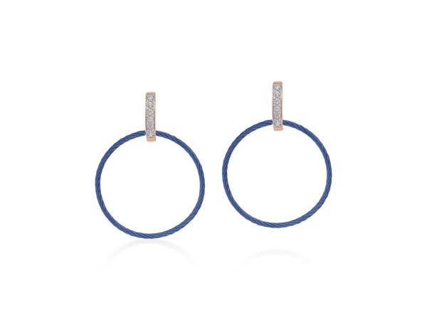 Closeup photo of Blueberry Petite Drop Circle Earrings