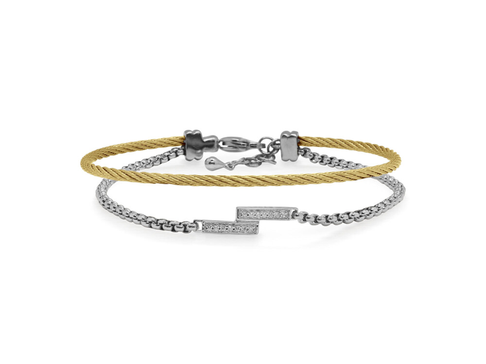 Grey Chain & Yellow Cable Intermix Bracelet with 14kt White Gold & Diamonds – ALOR