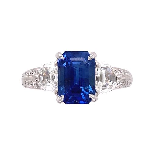 zPlatinum 3.00ct Emerald Cut Sapphire & .94tcw Diamond Ring, s6.5