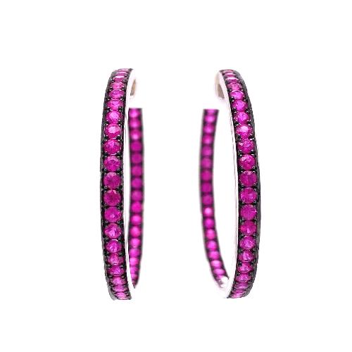 "18K WG Inside Out Pink Sapphire Hoops 16.4g, 3.7mm x 1.6"""