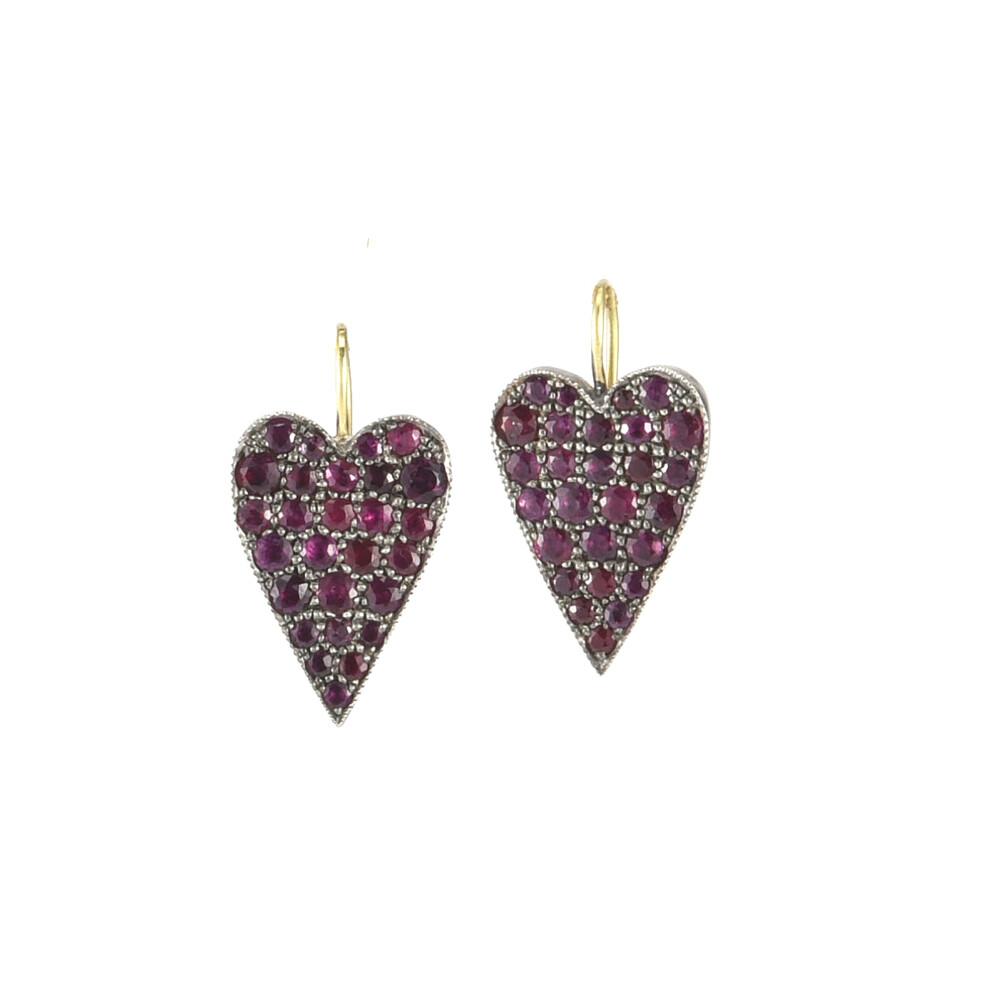 Reclaimed Ruby Heart Earrings
