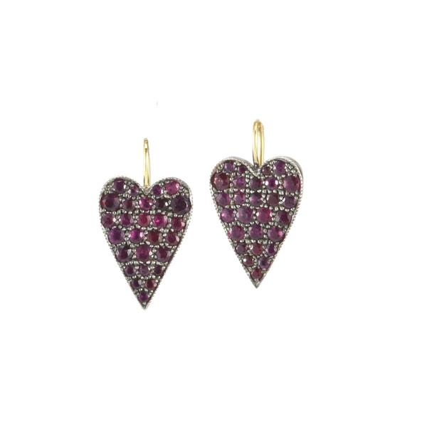 Closeup photo of Reclaimed Ruby Heart Earrings