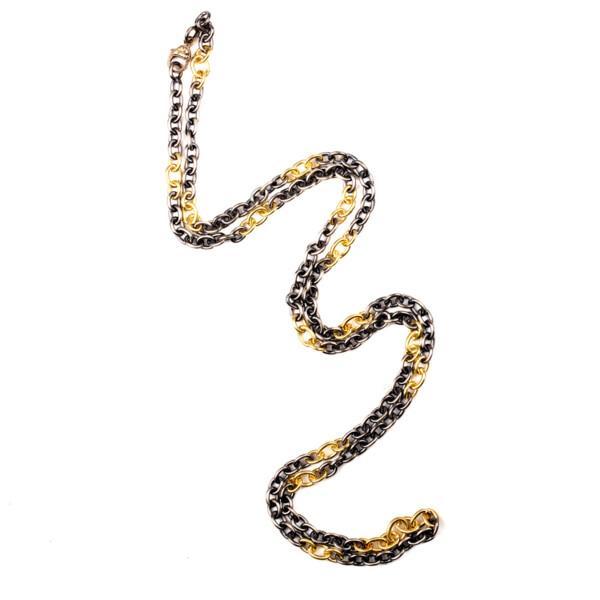 "Closeup photo of Handmade Gold & Silver Link 32"""