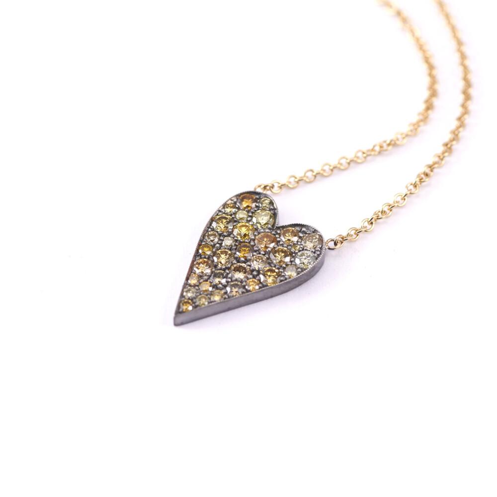 Yellow Diamond Heart Ten Table Necklace