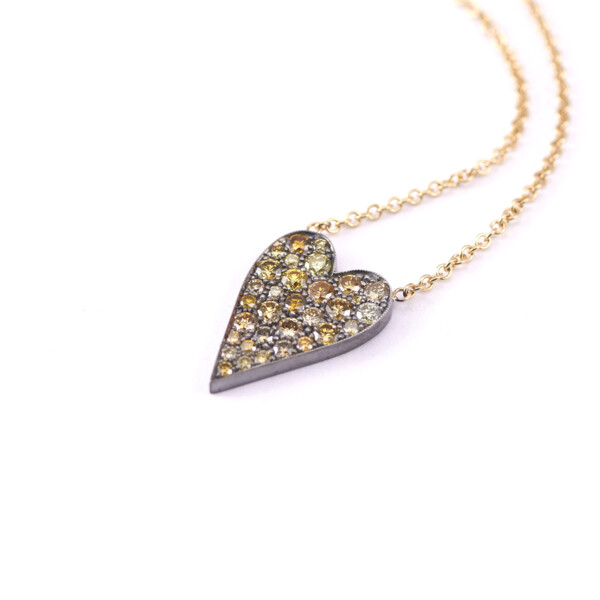 Closeup photo of Yellow Diamond Heart Ten Table Necklace