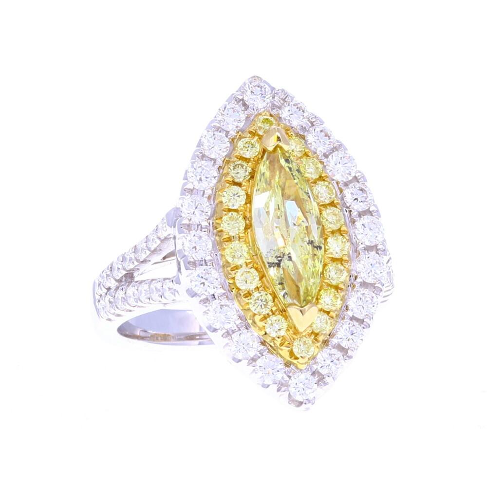 1ct Marquise Yellow Diamond Ring