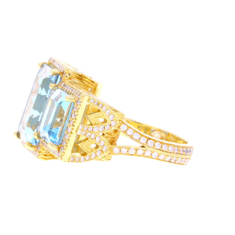 Cathedral Ring in Aqua 7.30tcw