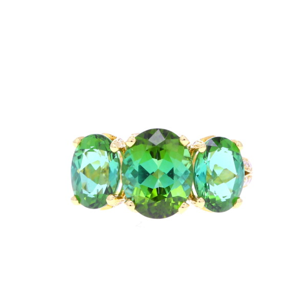 Closeup photo of Cathedral 3 Stone Ring in African Green Tourmaline