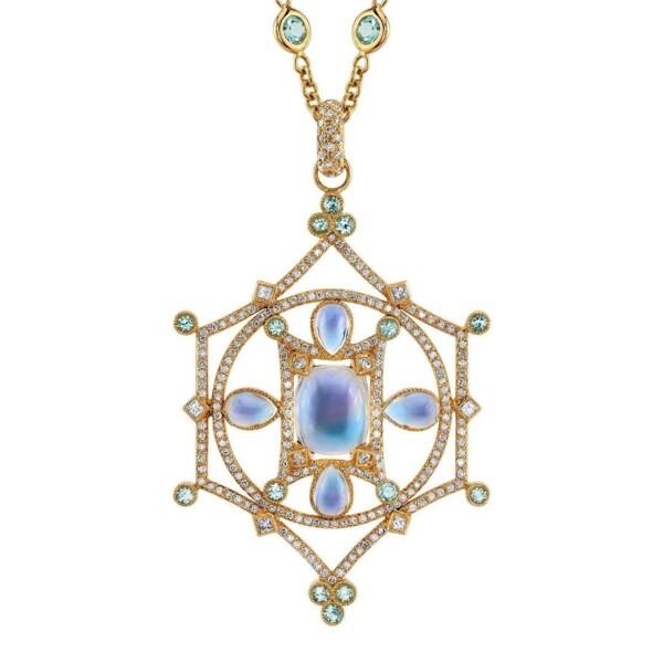 """Closeup photo of Mandala """"Mary"""" - Moontone & Paraiba"""