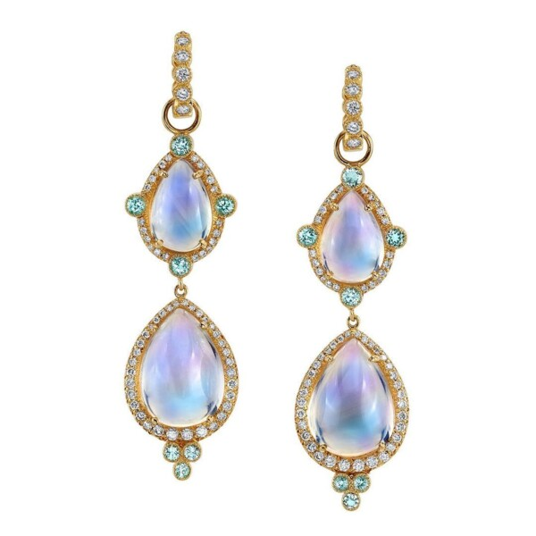 Closeup photo of Lily Pad Double Drop Earring Charms (Moonstone)