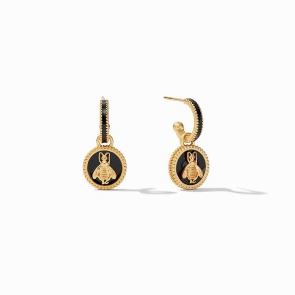 Closeup photo of Bee Cameo  Hoop & Charm Earring Gold  Obsidian Black Enamel