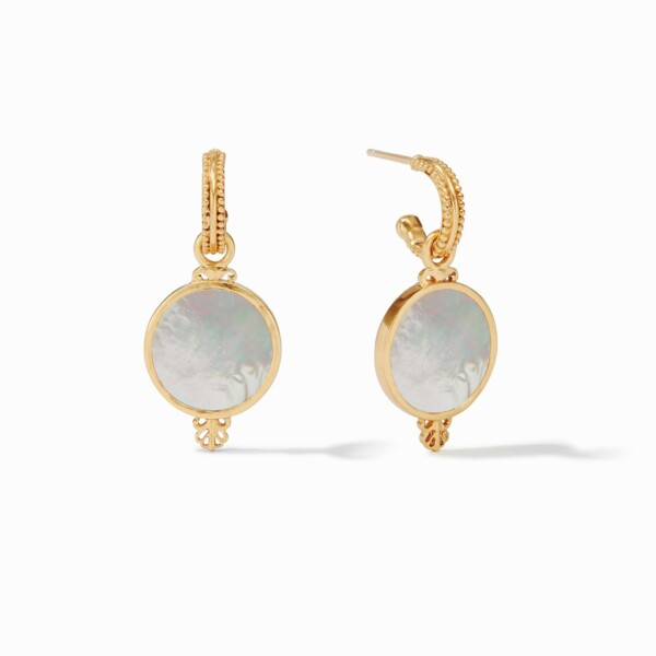 Closeup photo of Meridian (Compass) Hoop And Charm Earring Gold Mother Of Pearl