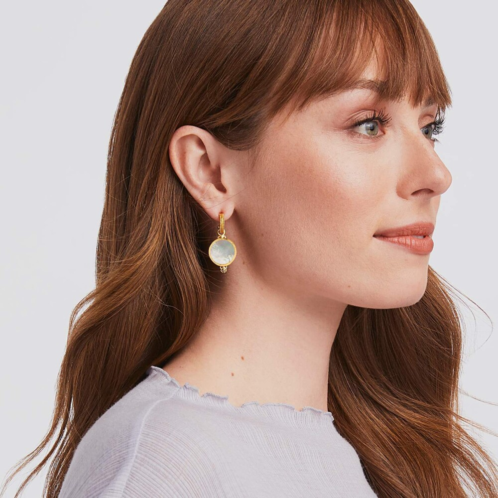 Meridian (Compass) Hoop And Charm Earring Gold Mother Of Pearl
