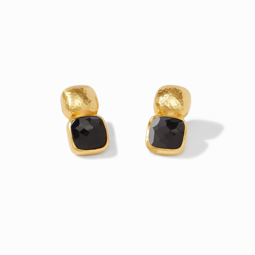 Catalina Earring Gold Faceted Obsidian Black