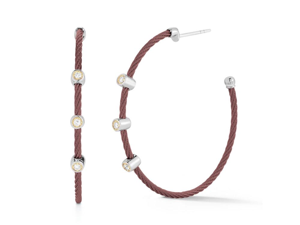 Cable Hoop Earrings with Triple Diamond Station – Burgandy