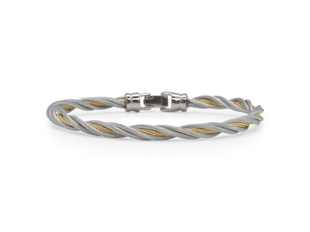Grey & Yellow Cable Double Twist Bracelet