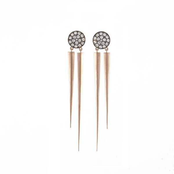 Closeup photo of 14Kt Signet cut diamond stick earrings