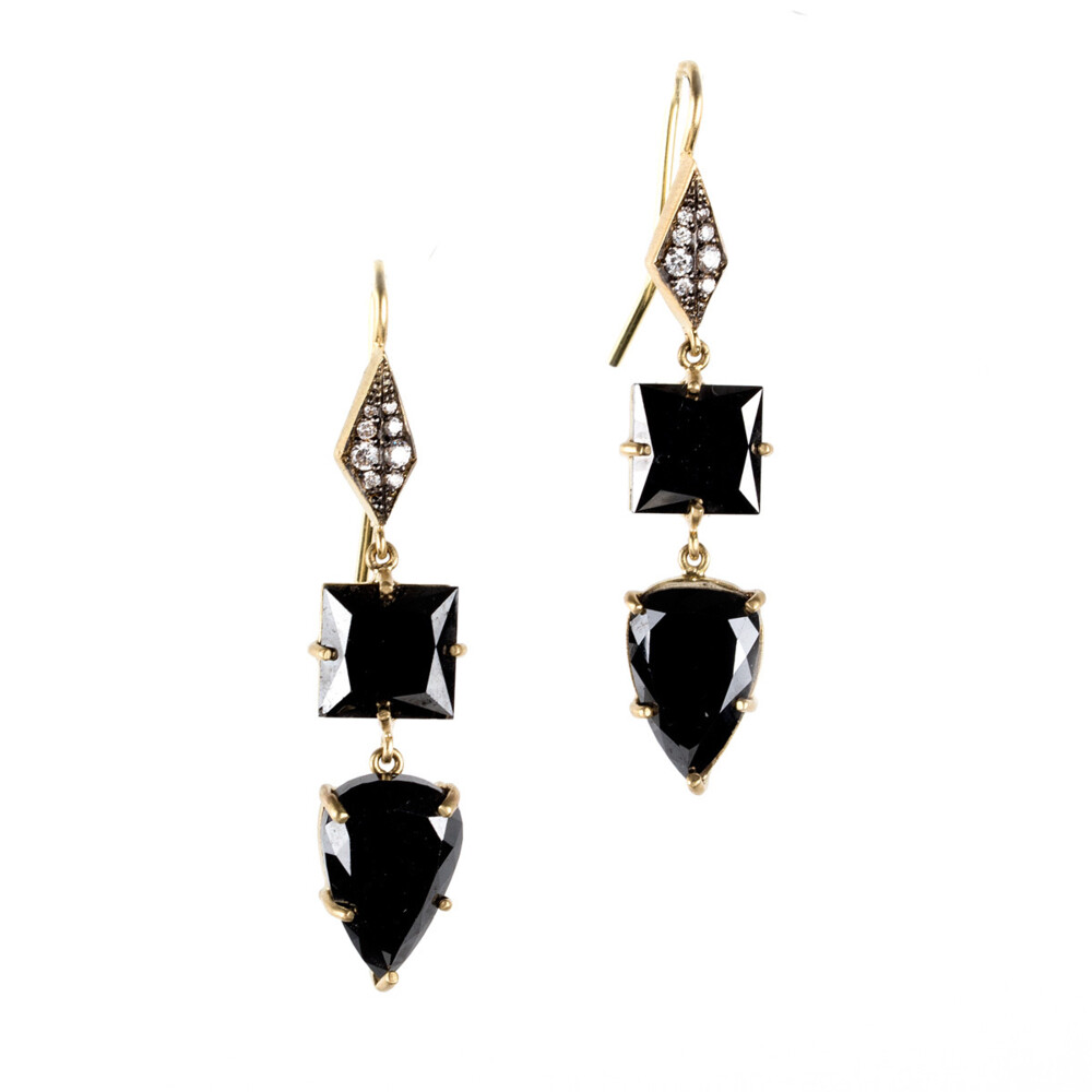 18Kt Black Diamond Earrings
