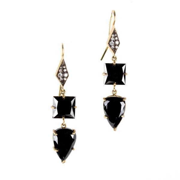 Closeup photo of 18Kt Black Diamond Earrings