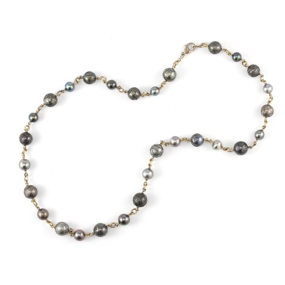 """18Kt 32"""" Carved South Sea Pearl Necklace"""