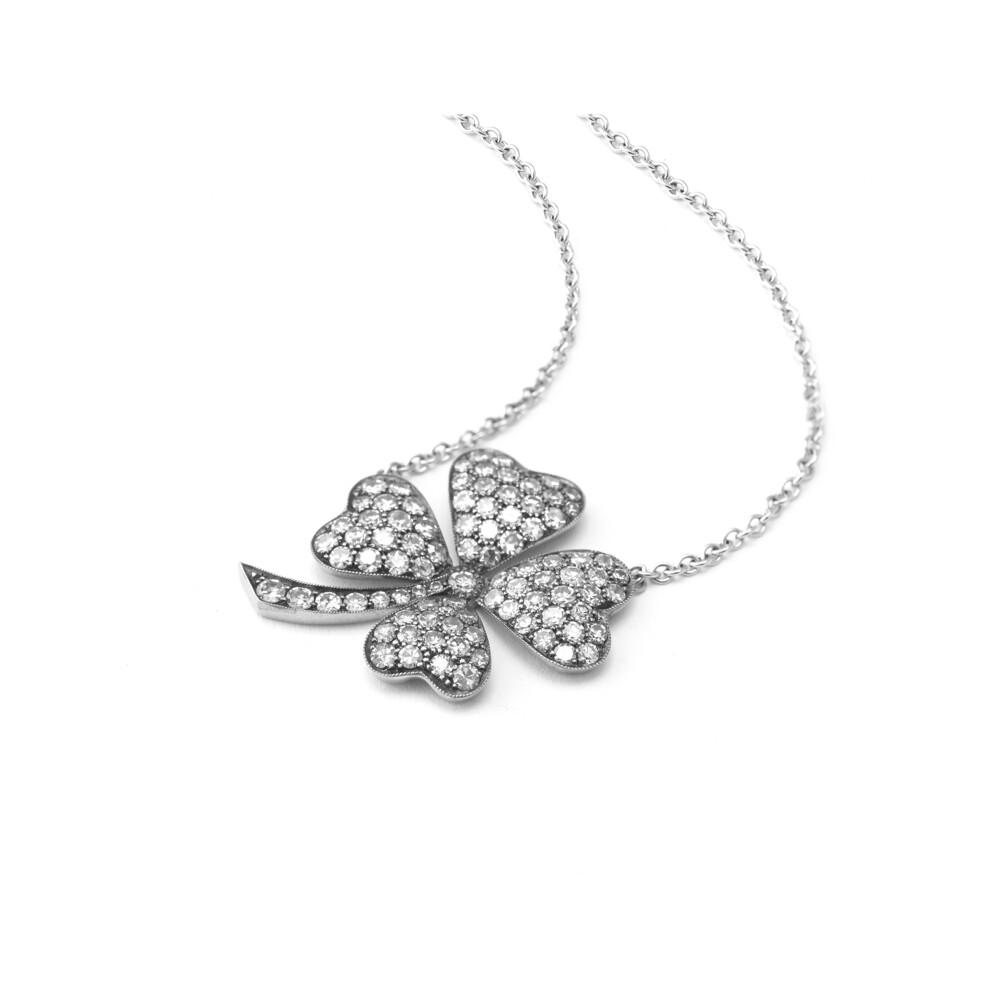 18Kt Clover diamond pedannt with chain