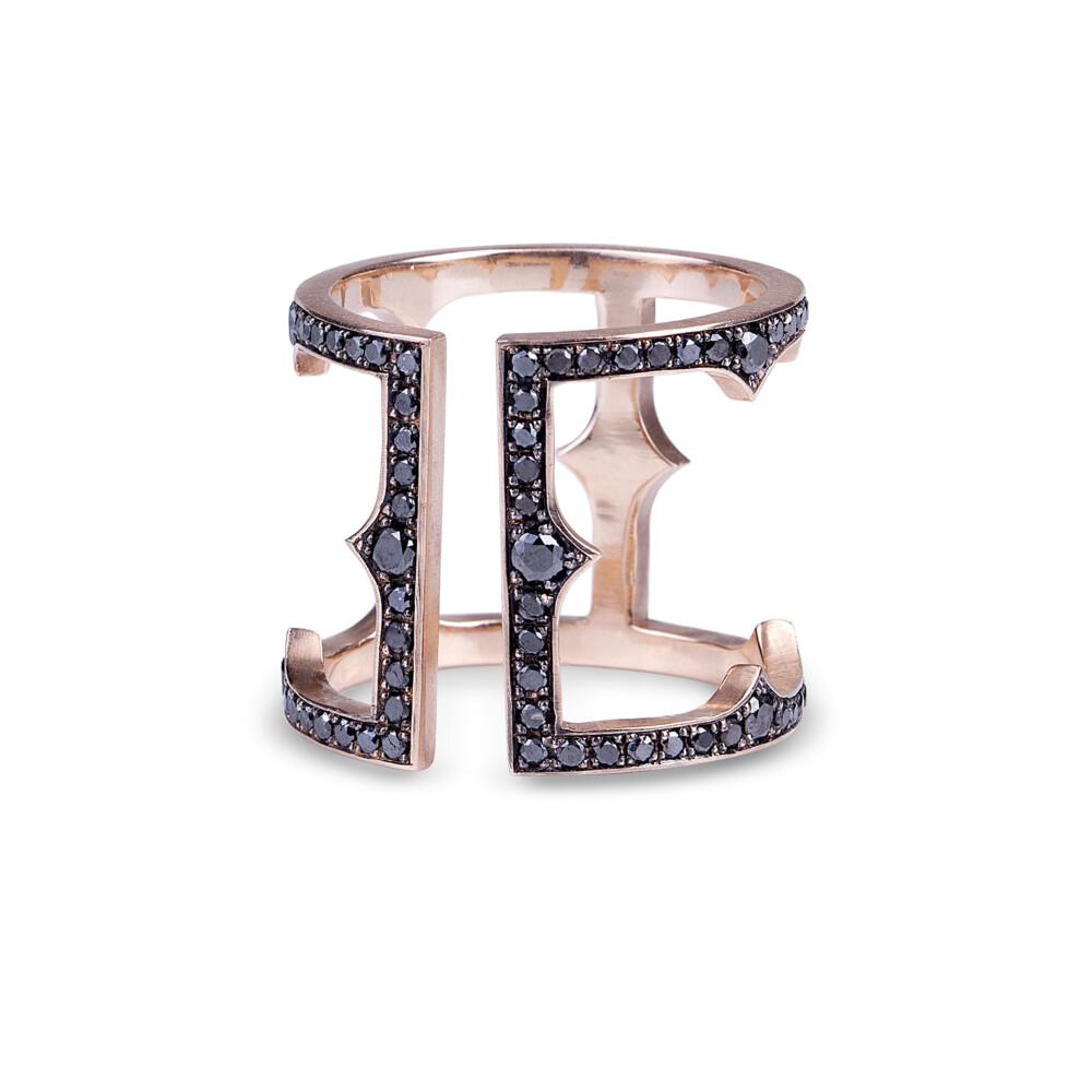 14KT Black Diamond Cage ring