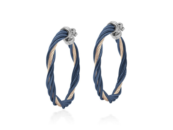 Closeup photo of Blueberry & Carnation Cable Modern Twist Earrings