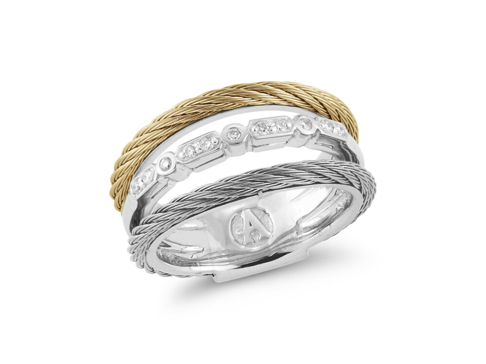 Layered Grey & Yellow Cable Ring with 18kt White Gold & Diamonds – ALOR