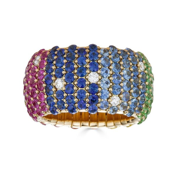 Closeup photo of Rainbow Domed Wide Stretch Ring