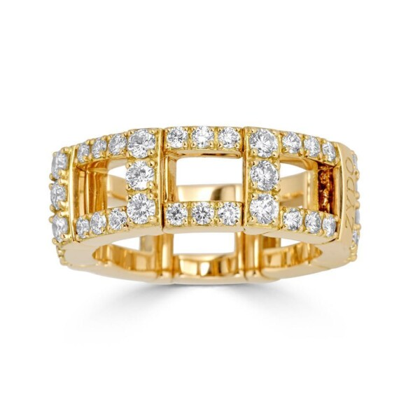 Closeup photo of H Stretch Ring with Diamonds