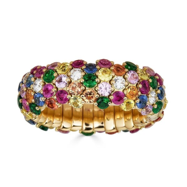 Closeup photo of Multicolor Stretch Ring with Sapphires and Tsavorites