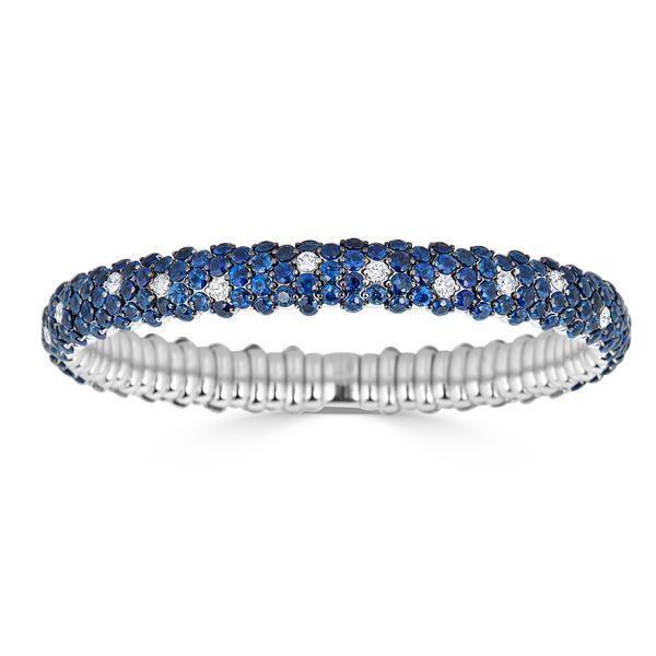 Closeup photo of Blue Sapphire Domed Stretch Bracelet