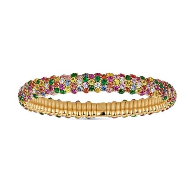 Closeup photo of Multicolor Sapphire Domed Stretch Bracelet