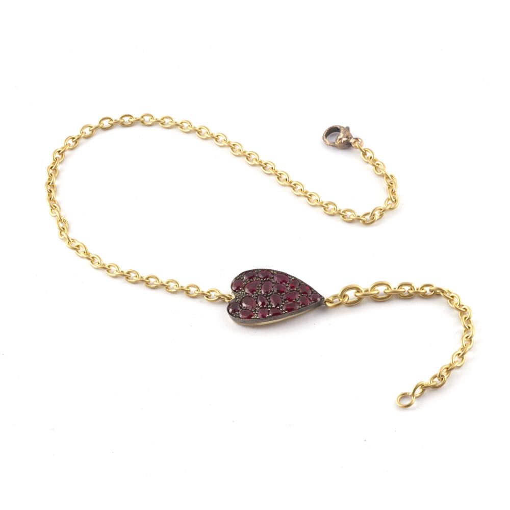 Ruby Heart Double Wrap Bracelet