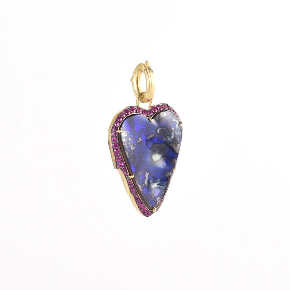 Opal & Pink Sapphire Heart Pendant