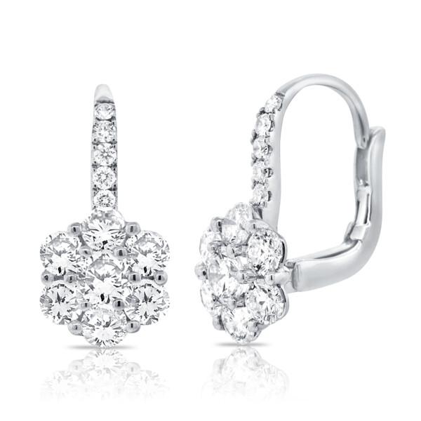 Closeup photo of 14k Classic Diamond Cluster Dangle Earrings