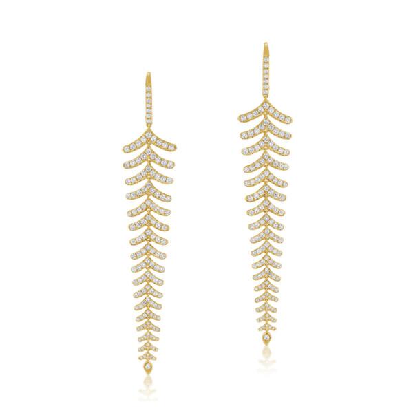 Closeup photo of 14k White Gold & Diamond Chandelier Earrings