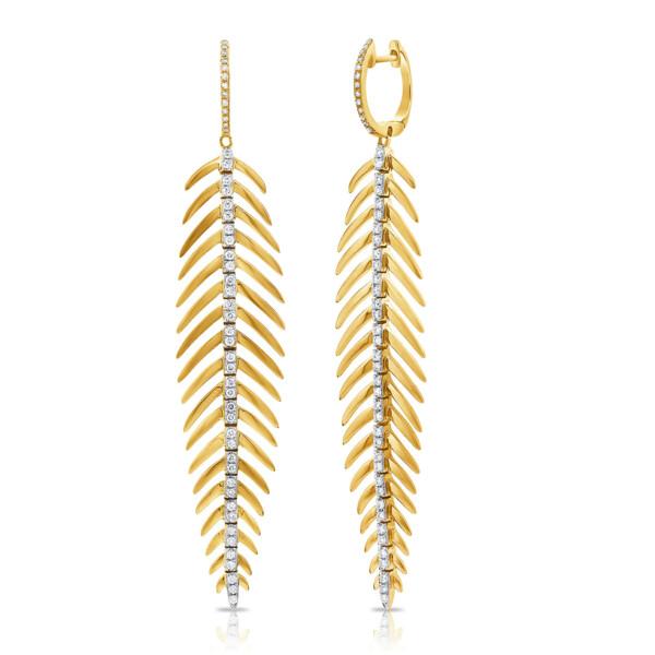 Closeup photo of 14k Feather Earring w/ Diamonds Down Center