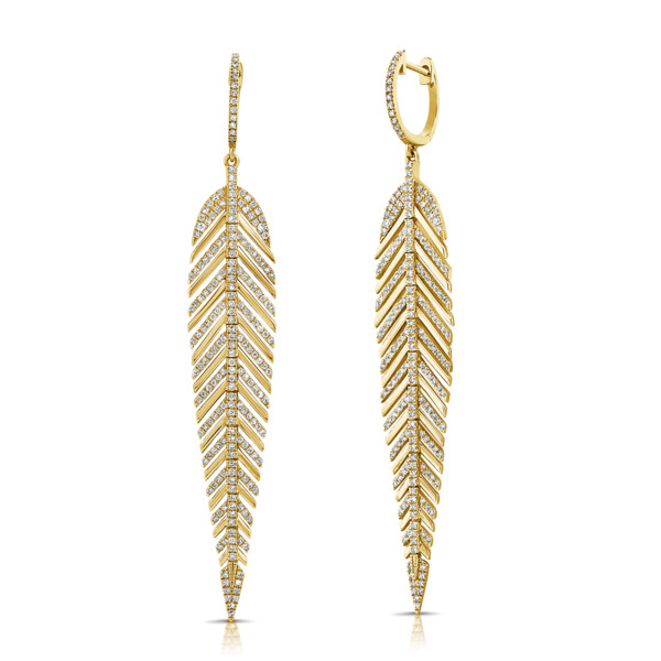 Closeup photo of 14k Feather Earrings w/ Diamond Ribs