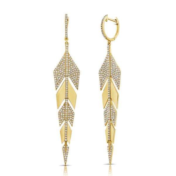 Closeup photo of 14k Pave Diamond Arrow Earrings